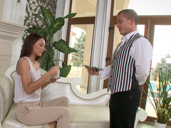 A skinny woman removes her top and her panties and then rides cock