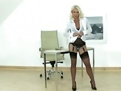 Hot Blonde Eager mom gives lad a handjob