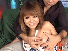 Golden haired Japanese darling is ready for toying and squirting