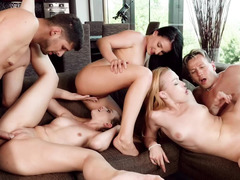 Awesome chicks are with some guys, getting fucked in an orgy