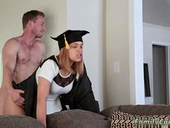 This graduated hot babe is excited to suck that massive cock and get banged in different positions by this handsome folk