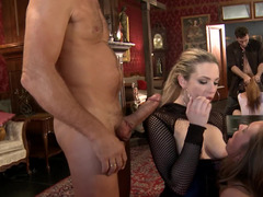 Aggressive sex fills an orgy scene with stunning women