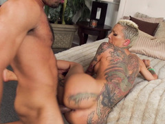 Inked cock whore Bella Bellz boned by a big cock