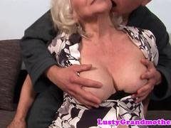 Very old grandma fucks with a young stud