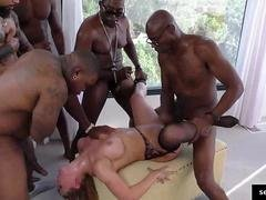 Slut gets jizzed in black gangbang sex