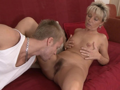 Blonde cougar is getting her hairy cunt rammed and penetrated