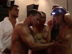 A group of men is around a horny Asian chick, fucking her hard