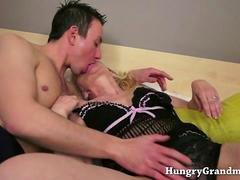 Young stud fucks two hot grannies