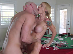 Hubby loses his wife in a poker bet and she fucks a new stud