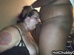 White Fatty Chokes On Big Black Cock!