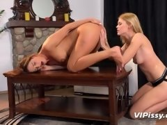 Lesbians Desperate To Pee While Fucking With Strapon During Yoga Session