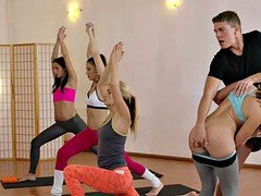 Fitness coach gropping sexy babes while practice