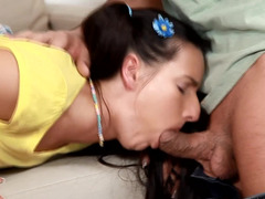 Butt plugged girl in pigtails wants his dick up her ass