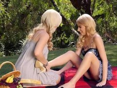 Two kinky ladies are having a picnic with loads of lesbian sex