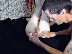 horny skinny chick tight pussy and anal playing