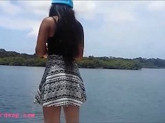 tight tiny pussy thai teen heather deep gets creampie after deepthroat on boat