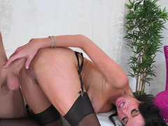 Busty brunette has fun with the hung job candidate