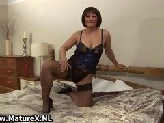 Mature in sexy black stockings