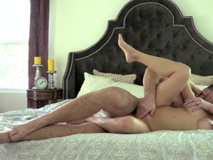 Foreplay and fucking in bed with sexy Alexis Fawx