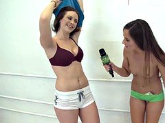 Horny brunette babe convinced to masturbate for money