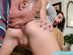 Old man watches his buddy banging a little slut