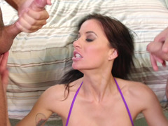 This anal loving brunette is getting fucked on the bed hard