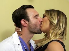 Injured hubby watches his wife fuck the hot doctor