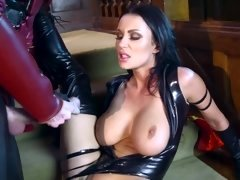 A raven haired girl in latex is getting a dick inside her meaty cunt