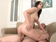 Hot brunette has an affair with experienced swain