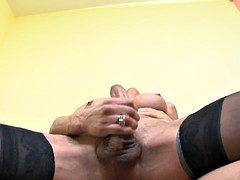 seductive blonde shemale bends only in stockings anal penetration