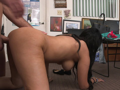 Sexy Latina has her tight body placed on the desk to be fucked