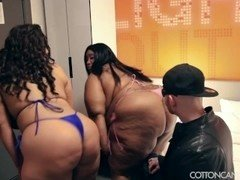 2 Busty Curvy Babes Dominate Cuckold