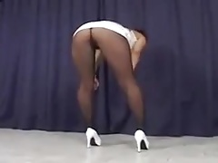 Asian Gets Hammered Through Her Black Pantyhose