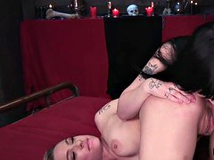 Lesbian vampires strap on anal threesome
