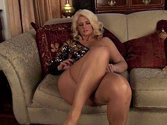 sparkly skirt nails tan pantyhose milf