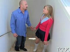 Savory blonde schoolgirl with huge tits groped and sucking dick