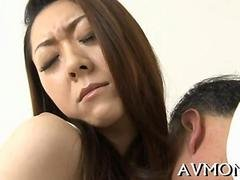 Japanese MILF slut takes two handsome guys in this session