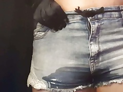 Fox girl pees and farts in her jean shorts