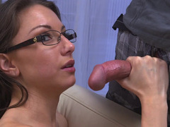 Sweet looking Latina amateur with glasses enjoys in hot sex scene