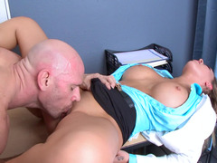 Dirty MD with amazing fake titties fucks in an exam room