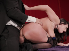 Cock swallowing glamour girl in stockings ass fucked doggystyle