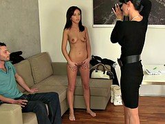 Milf female agent recording couple in her office