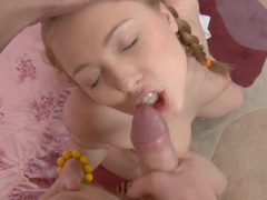 Adorable girl in braided pigtails is actually an anal slut