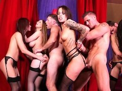 Group of males comes to elite brothel to have some fun with hot chicks