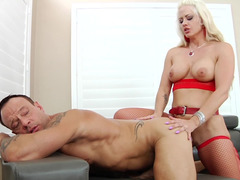 Holly Heart pegging his ass and jerking him off