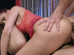 Red-haired woman experiences double penetration with two lovers