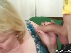 Old mother-in-law rides his cheating cock