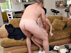 Alex Harper hot threesome fuck with old guys
