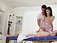 masseuse cockriding in bisexual threeway