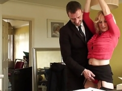 BDSM eager mom brit instructed to ride by maledom